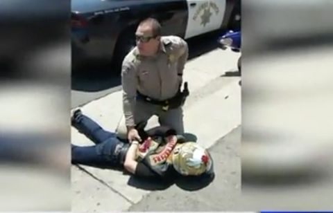 Video: CHP vehicle knocks down motorcycle rider after pursuit