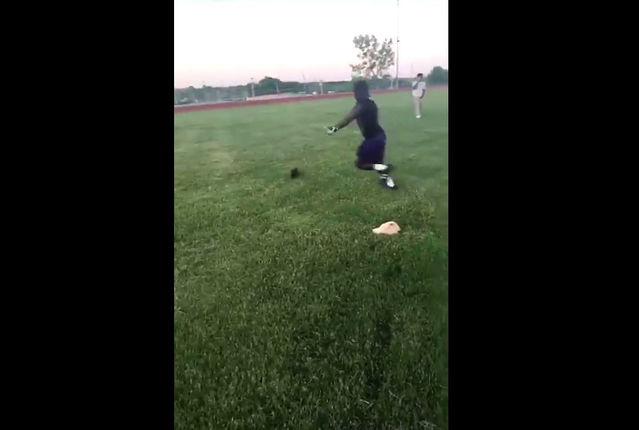 Video shows man kicking cat across football field; 2 sought