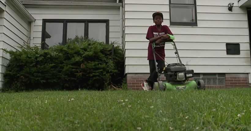 Neighbors call police on 12-year-old mowing grass; viral video gets boy more business