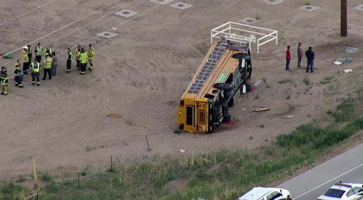 At least 29 injured when truck driver falls asleep, crashes into school bus in Colorado