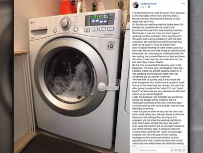 Mom warns other parents in post about daughter trapped in washing machine