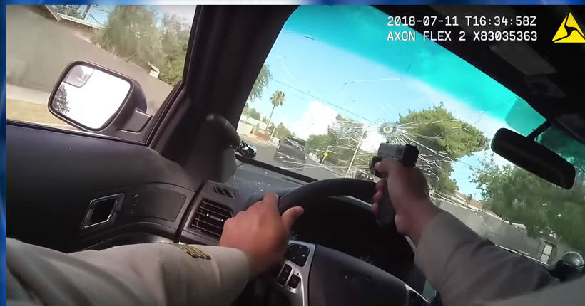 WATCH: Body-cam video shows Vegas cop shooting back in pursuit