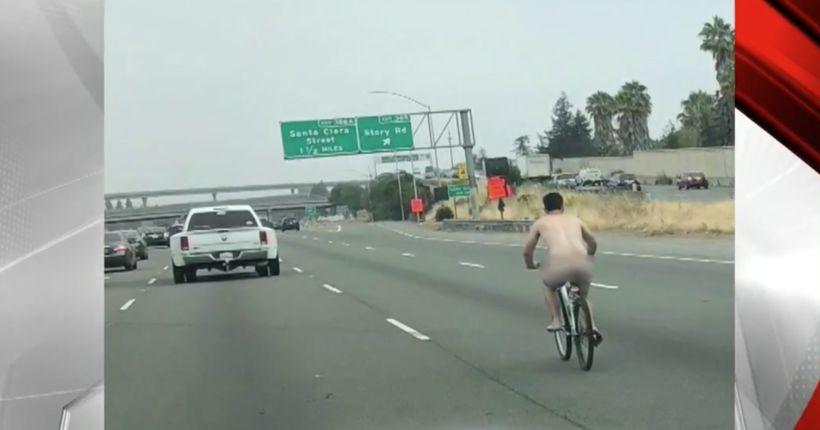 Naked man rides bicycle on Hwy 101