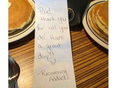 Recovering addict secretly treats EMTs to breakfast, brings them to tears