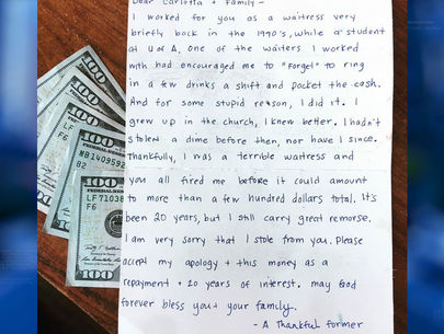 Woman sends $1000, apology, to restaurant she stole from as waitress