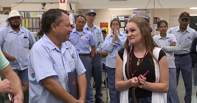 Postal carrier reunited with girl he rescued from trafficking