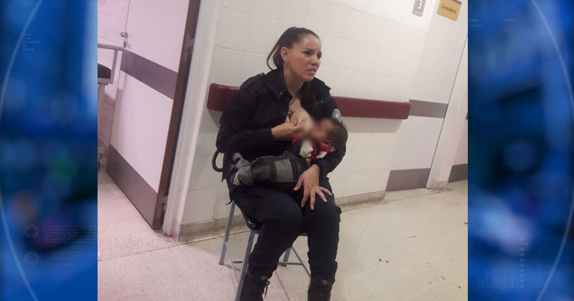 Police officer breastfeeds malnourished baby while on duty at hospital